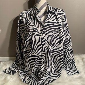 Chaps Size 2X Long Sleeve Animal Print Button Down